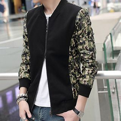 Besto - Floral Print Panel Zip Jacket