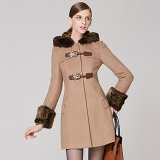 O.SA - Wool-Blend Faux-Fur Collar Hooded Coat