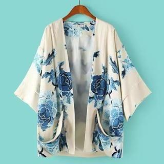 JVL - Kimono-Sleeve Floral Cardigan