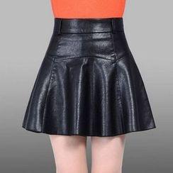Manilu - Faux Leather Ruffle Skirt