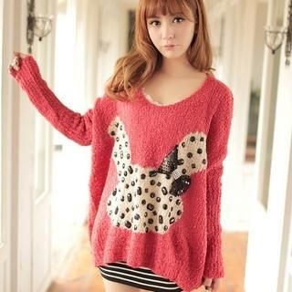 JK2 - Bow-Accent Rhinestone Knit Top