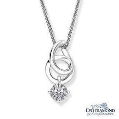 Leo Diamond - 18K White Gold Waterdrop Shape Pendant With Diamond Solitaire Necklace (16')