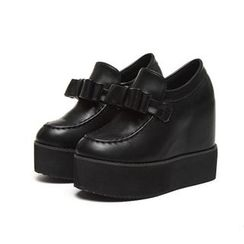 Anran - Bow Hidden Wedge Platform Slip-Ons