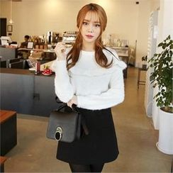 QNIGIRLS - Frill-Trim Furry-Knit Sweater
