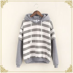 Fairyland - Mock Two Piece Striped Panel Hoodie
