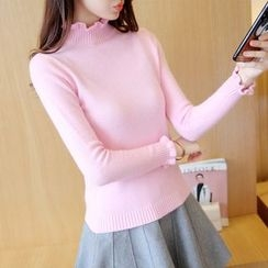 Yamster - Frilled Mock-neck Knit Top