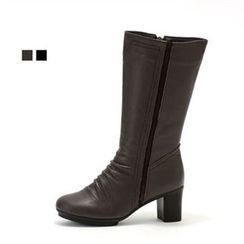 MODELSIS - Chunky-Heel Zip-Side Long Boots