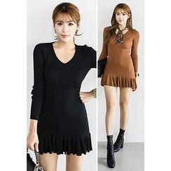 INSTYLEFIT - Ruffle-Hem Mini Bodycon Dress