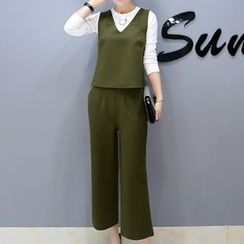 Cottony - Set: Long-Sleeve T-Shirt + V-Neck Sleeveless Top + Cropped Wide Leg Pants