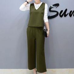 Cottony - 套裝: 長袖T恤 + V領無袖上衣 + 七分寬腿褲