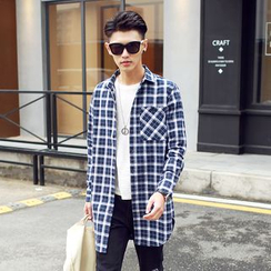 Bay Go Mall - Long Plaid Shirt