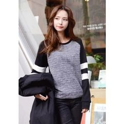 DEEPNY - Raglan-Shoulder Knit-Panel Sweatshirt
