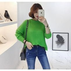 Miamasvin - Crew-Neck Rib-Knit Top