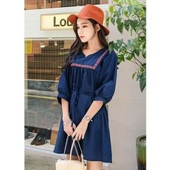 J-ANN - Puff-Sleeve A-Line Dress