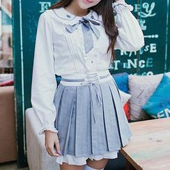 GOGO Girl - Tie-collar Blouse / Pleated Skirt