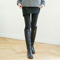 GLAM12 - Inset Fleece-Lined Skirt Leggings