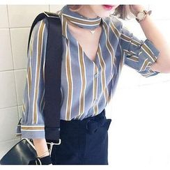 YOSH - Cutout Pinstriped 3/4-Sleeve Blouse