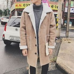 Soulcity - Lettering Embroidered Faux Shearling Coat