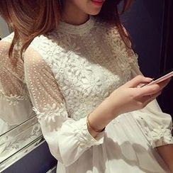 lilygirl - 饰蕾丝雪纺连衣裙