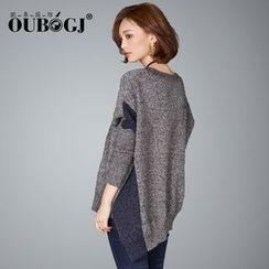 OUBO - 撞色V领宽松不规则毛衣