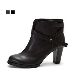 MODELSIS - Tie-Detail Genuine Leather Ankle Boots