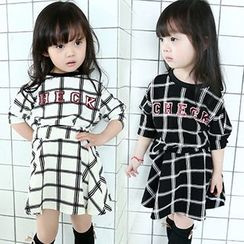 Merry Go Round - Kids Set: Plaid Letter Long-Sleeve Top + Skirt