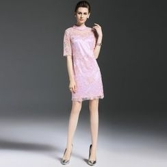 Elabo - Embroidered Mesh Short-Sleeve Dress