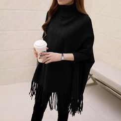 Sugar Town - Turtleneck Knit Poncho