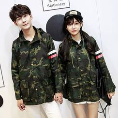 Azure - Couple Matching  Camo Buttoned Jacket