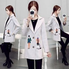 Romantica - Wool Blend Notched-Lapel Embroidered Coat