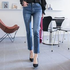 DABAGIRL - Distressed Washed Straight-Cut Jeans