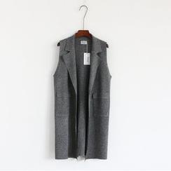 Mushroom Street - Knitted Open Front Long Vest