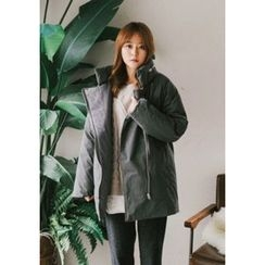 GOROKE - Stand-Collar Diagonal-Zip Padded Coat