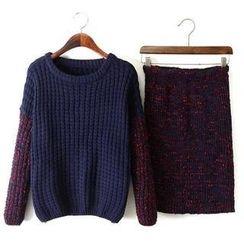 JVL - Set: Melangé Panel Sweater + Pencil Skirt
