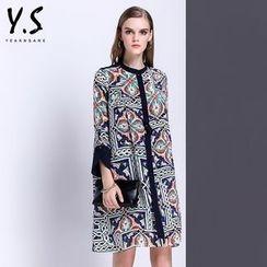 Y:Q - 扣角領圖案直筒連衣裙