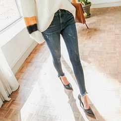 Seoul Fashion - Band-Waist Distressed Washed Skinny Jeans