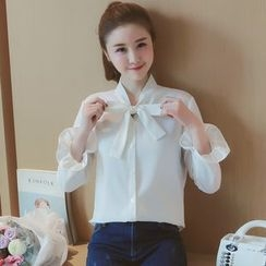 Munai - Long-Sleeve Tie-Neck Blouse