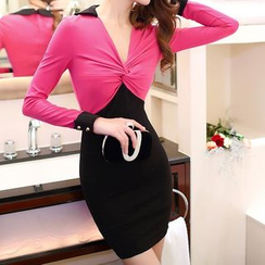 Aurora - Long-Sleeve Color-Block Sheath Dress