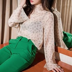 chuu - Mock-Neck Floral Chiffon Top