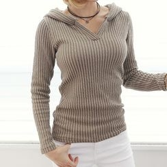 DANI LOVE - Hooded Ribbed Knit Top