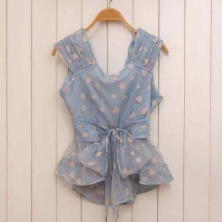 Ando Store - Sleeveless Heart Print Tie-Waist Top