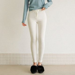 Seoul Fashion - Brushed-Fleece Lined Ribbed Skinny Jeggings