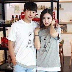 Smallman - Couple Short-Sleeve 'PARIS' Print T-Shirt