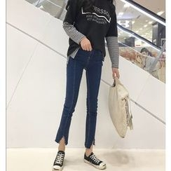 Eva Fashion - Notch Hem Skinny Jeans