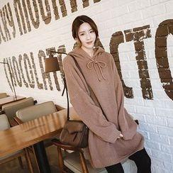 mimi&didi - Hooded Knit Mini Pullover Dress
