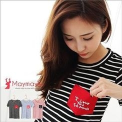 Maymaylu Dreams - Letter-Print-Pocket Striped T-Shirt
