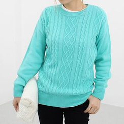 Seoul Fashion - Crew-Neck Cable-Knit Sweater