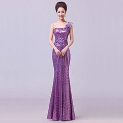 Posh Bride - One-Shoulder Sequined Sheath Evening Gown