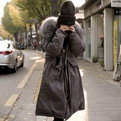 Emmy - 毛毛邊連帽夾棉大衣
