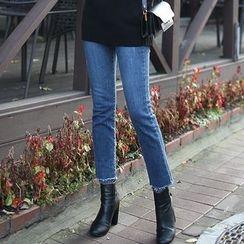 Seoul Fashion - Washed Semi Boot-Cut Jeans